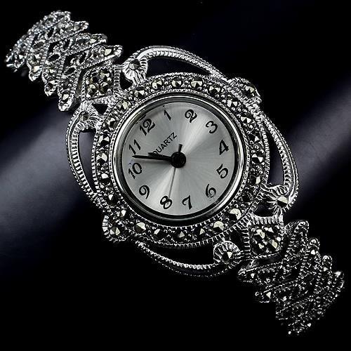 שעון כסף מעוצב SH1511 משובץ Marcasite | תכשיטי כסף