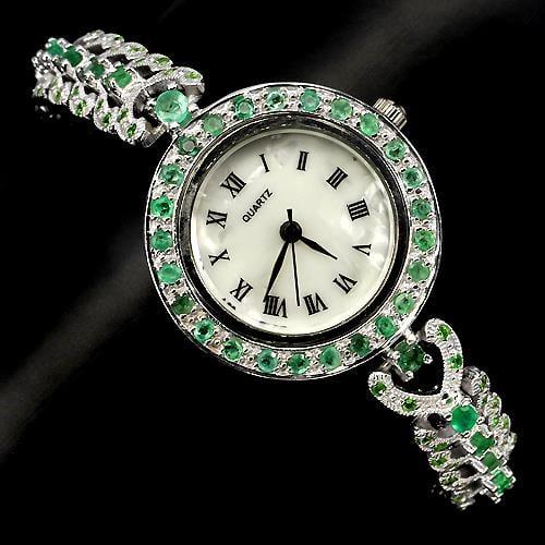שעון כסף משובץ אבני Emerald וזרקונים SH0593