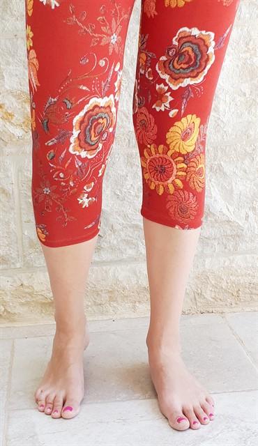 טייץ כותנה עם הדפס פרחים בצבעי אדום קצר