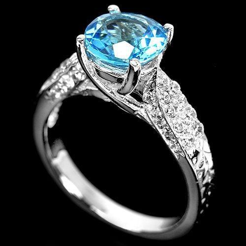 טבעת כסף משובצת טופז כחול וזרקונים RG5519 | תכשיטי כסף 925 | טבעות כסף