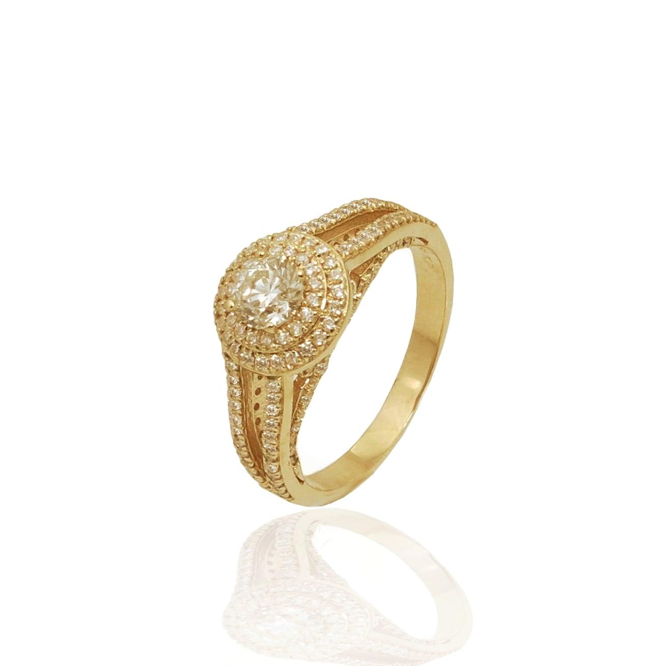 טבעת אירוסין מעוצבת משובצת יהלומים 1.20 קראט בזהב 14 קרט - תעודה גמולוגית IGL