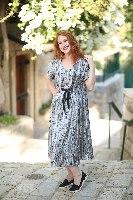 שמלת ג'ינגר אפור עם טקסטורה
