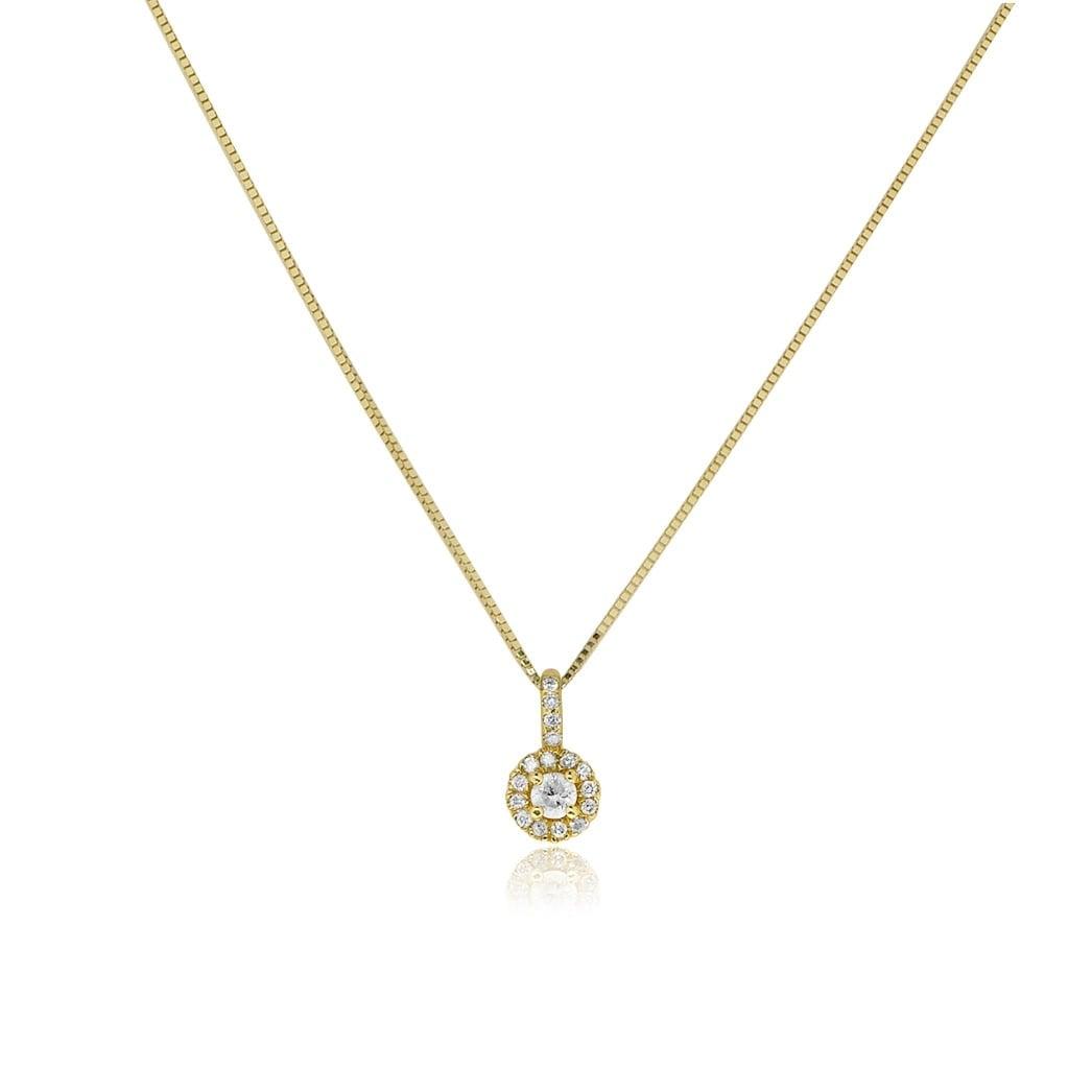 שרשרת ותליון זהב 14 קרט משובץ יהלומים 0.18 קראט