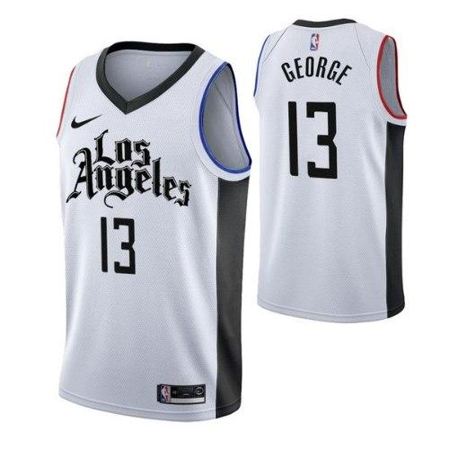 גופיית NBA לוס אנג'לס קליפרס לבן שחור 20/21 - #13 Paul George