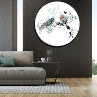 תמונה עגולה זכוכית לסלון מודרני