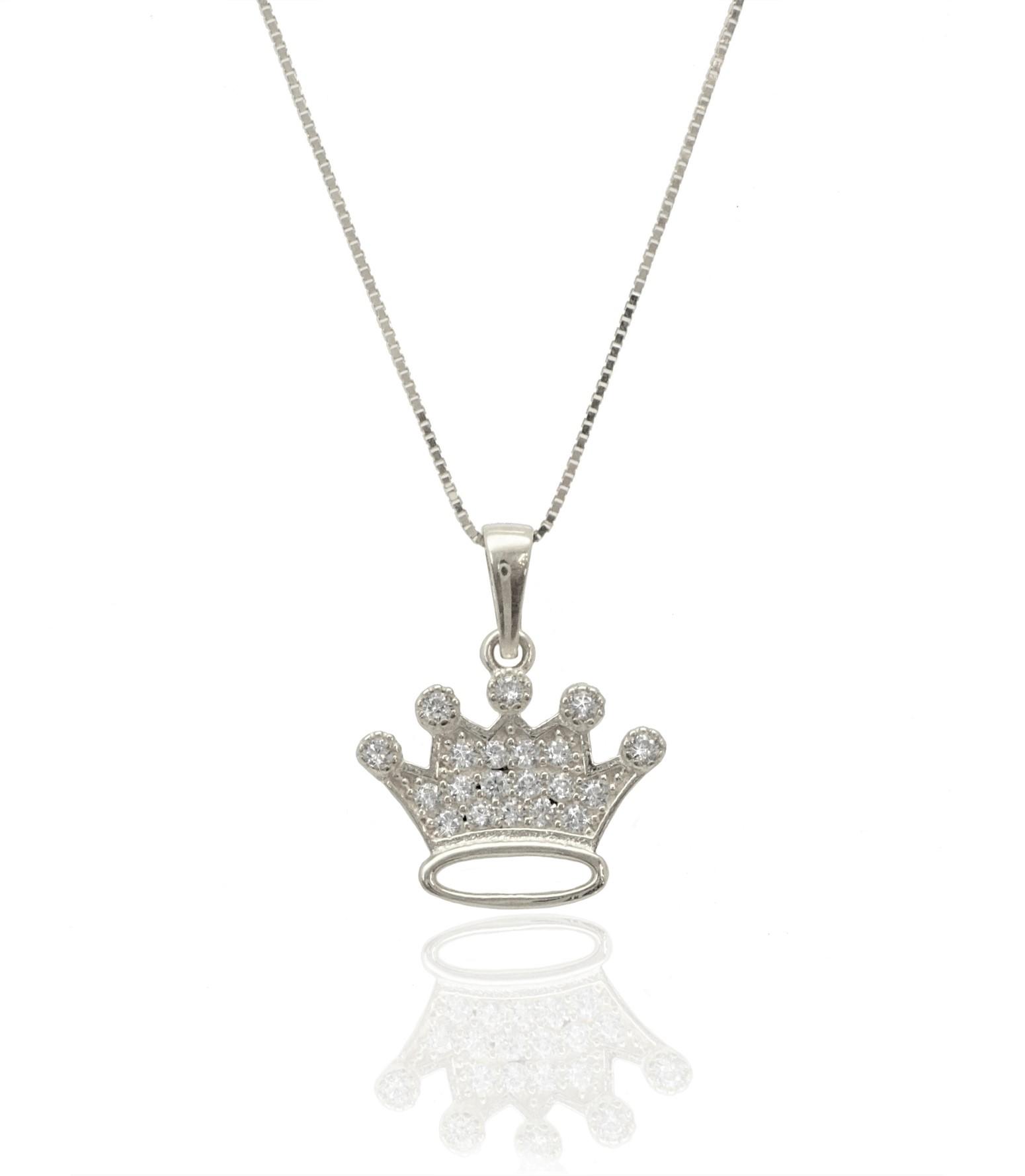 שרשרת כתר לאשה שרשרת עם תליון כתר בזהב 14 קאראט משובץ יהלומים