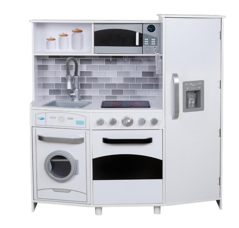 W10C223B - מטבח עץ מהמם לילדים בצבע לבן, דגם ספירלה, קפיץ קפוץ