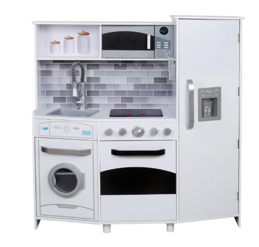 W10C223B - מטבח עץ מהמם לילדים בצבע לבן, דגם ספירלה, צעצועץ
