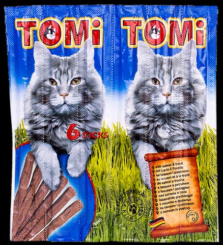חטיף טומי לחתול בטעם סלמון 6 מקלות