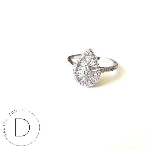 טבעת טיפה מלבנים- קריסטל כסף 925