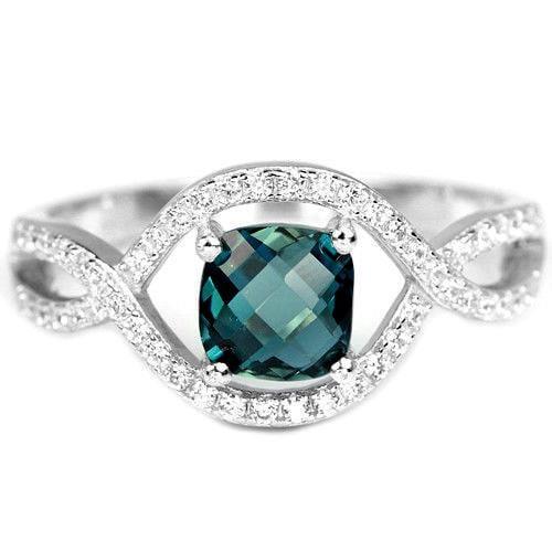 טבעת כסף משובצת טופז כחול וזרקונים RG5620 | תכשיטי כסף 925 | טבעות כסף