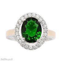 טבעת כסף משובצת אבן זרקון ירוקה ואבני זרקון שקופות RG6080 | תכשיטי כסף 925 | טבעות כסף