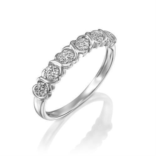 טבעת מגע האהבה משובצת יהלומים בזהב לבן או צהוב 14 קראט