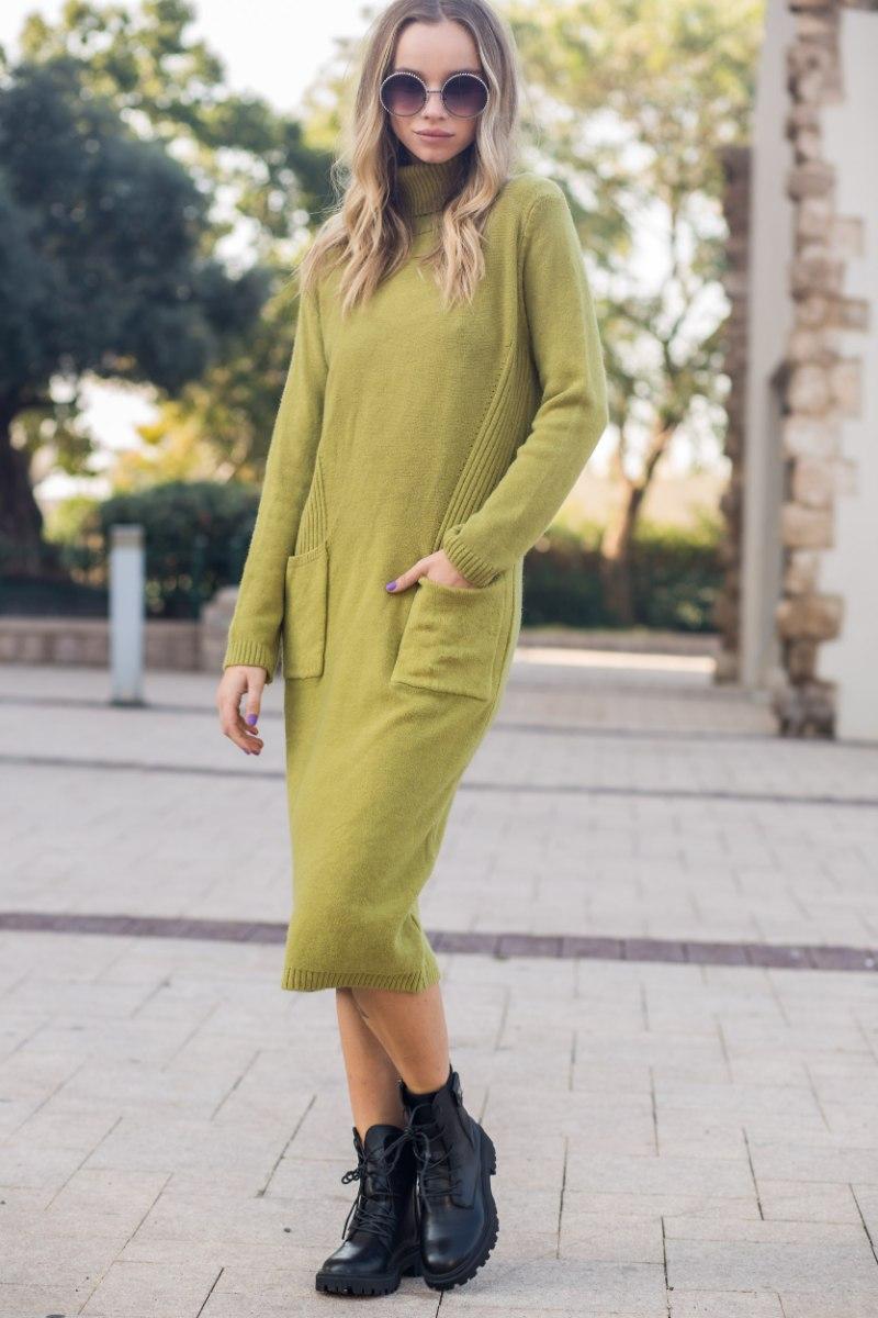 שמלת סריג דגם ליאנה ירוק