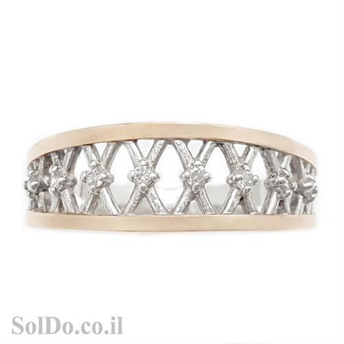 טבעת כסף מצופה זהב 9K משובצת אבני זרקון  RG8631 | תכשיטי כסף | טבעות כסף