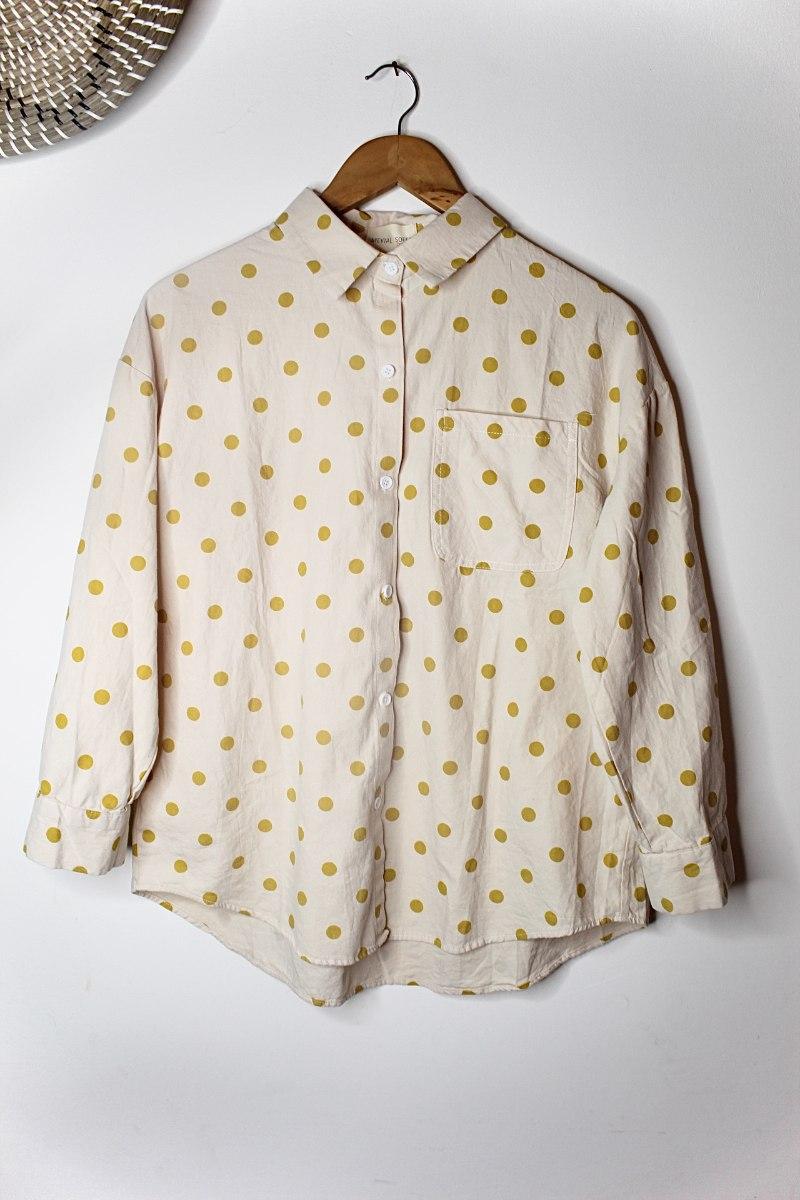 חולצה מכופתרת דוטי צהוב