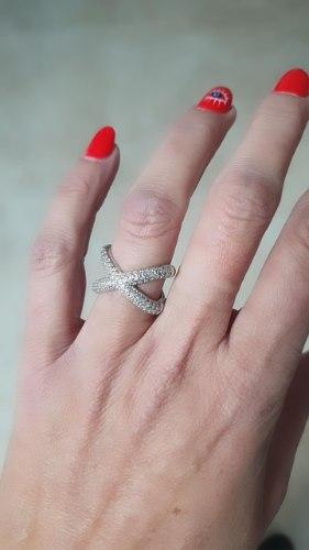 טבעת איקס מכסף משובצת