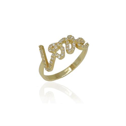 טבעת זהב LOVE זרקונים