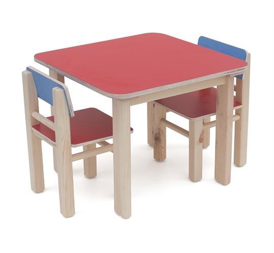 שולחן + 2 כסאות מעץ סט
