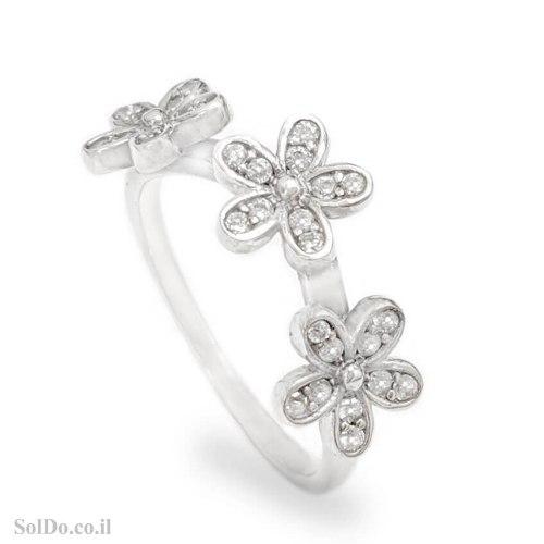 טבעת מכסף דגם פרחים משובצת אבני זרקון  RG6262 | תכשיטי כסף | טבעות כסף