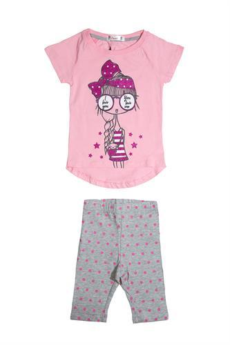 חליפה עם ציור ילדה חולצה ורודה