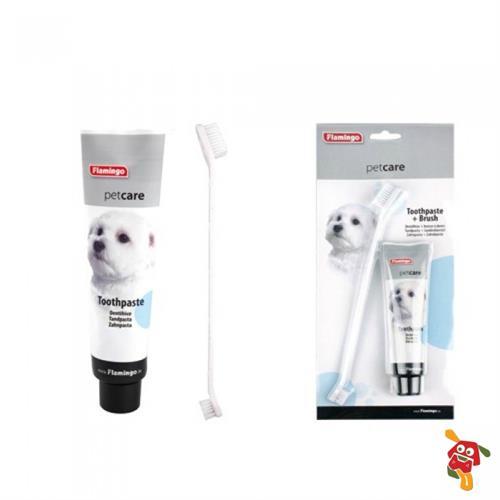 משחת שיניים ומברשת שיניים לכלב פלמינגו