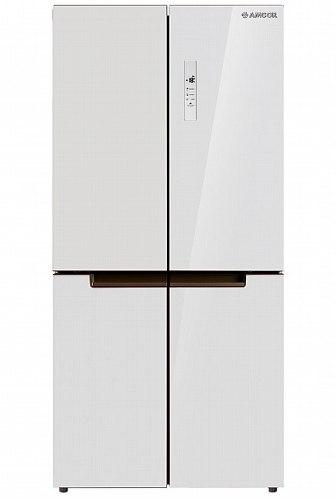 מקרר 4 דלתות NO FROST מקפיא תחתון 506 ליטר תוצרת AMCOR דגם AM4506GW זכוכית לבנה