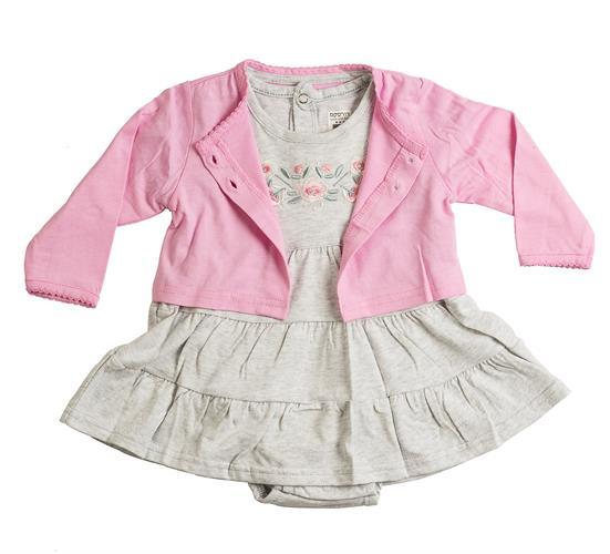 שמלת אוברול ועליונית 4610 אפור מלאנג' - ורוד בייבי