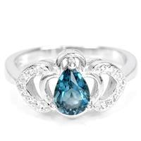טבעת כסף משובצת טופז כחול וזרקונים RG7034 | תכשיטי כסף 925
