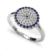טבעת כסף משובצת אבני זרקון כחולות ולבנות RG5558 | תכשיטי כסף | טבעות כסף
