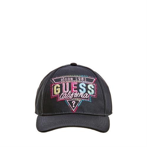 כובע אבנים צבעוניות GUESS שחור