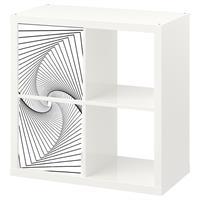2 יח' טפט להדבקה על דלת כוורת (KALLAX)- תלת מימד לבן ושחור
