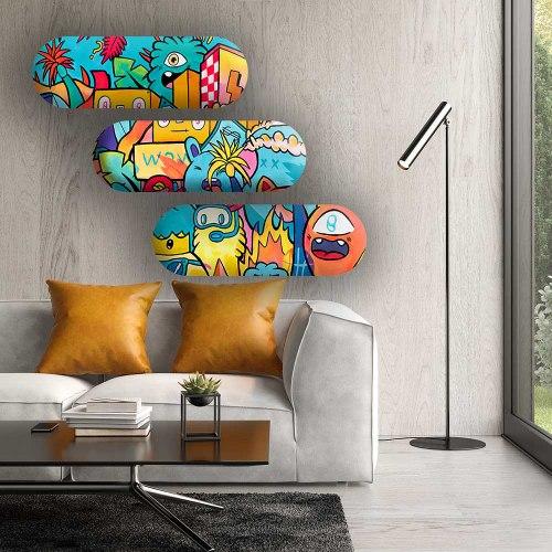 סט 3 סקייט ארט צבעוניות לחד ילדים של האמן כפיר תג'ר