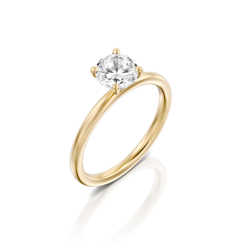 טבעת אירוסין זהב צהוב 14 קראט משובצת יהלום מרכזי MARTINI YELLOW