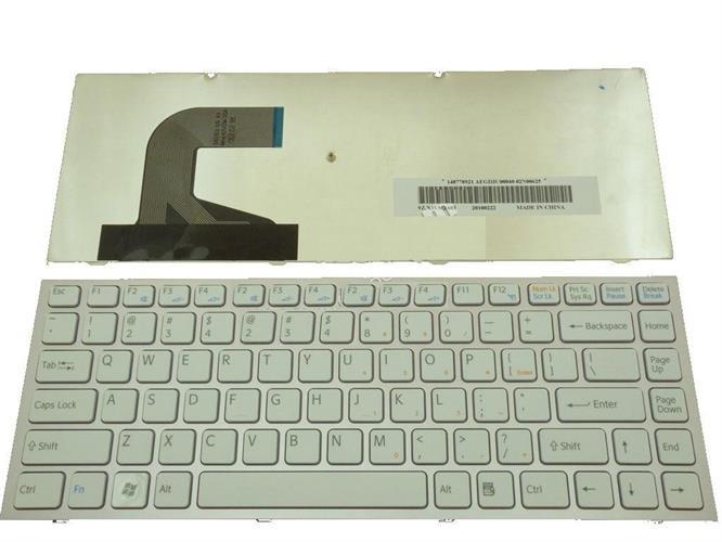 מקלדת לנייד סוני לבן מסגרת ורודה Sony VPC-S Pink Frame White Keyboard 148778921 / AEGD3U00040 / 9Z.N3VSQ.601