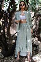 חצאית וולן ללי ירוק פרחוני