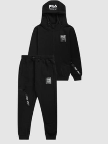 Fila חליפת פוטר שחור לוגו לבן מידות 10-16