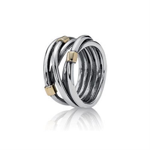 טבעת כסף וזהב פנדורה 190383