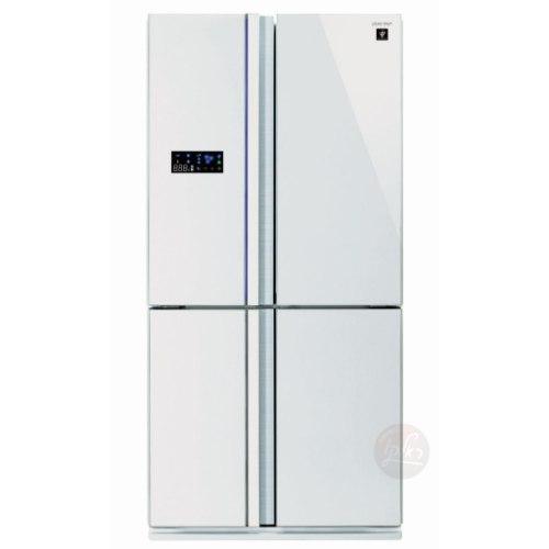 מקרר 4 דלתות 610 ליטר גימור זכוכית לבנה תוצרת SHARP דגם SJR8912