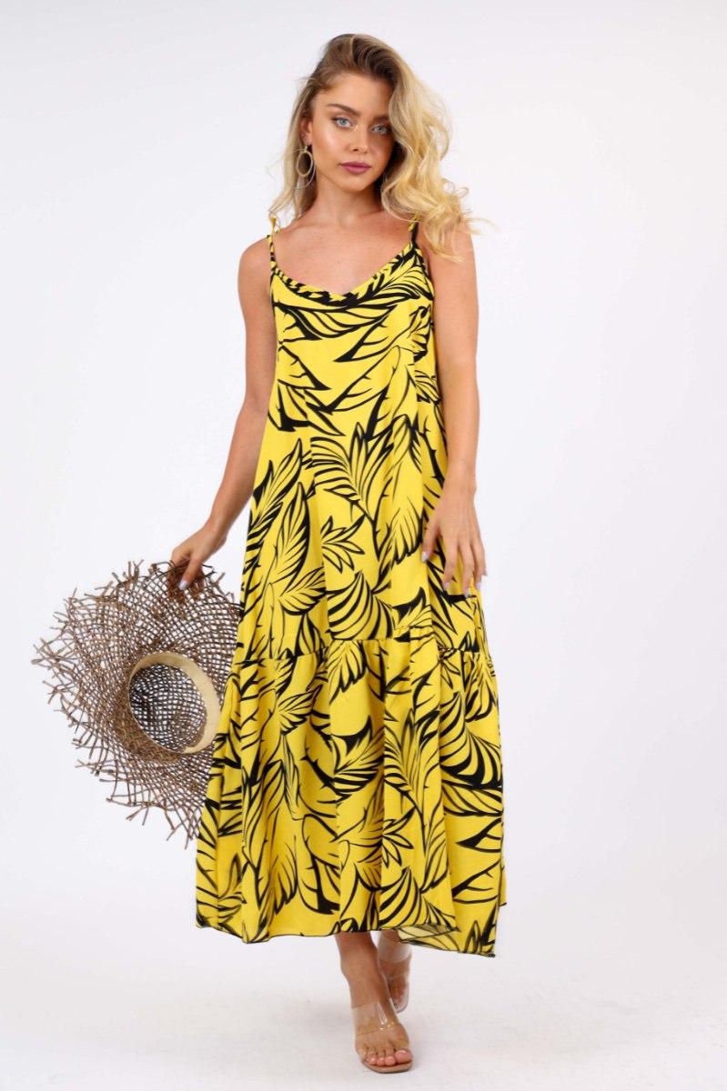שמלת לונה צהוב פרחים