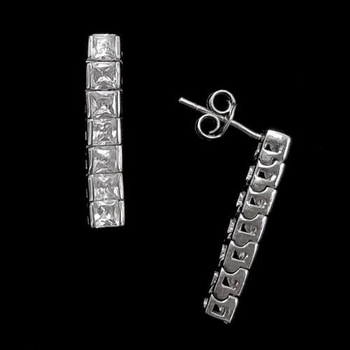 עגילי כסף משובצים אבני זרקון בצורת מלבן A5610 | תכשיטי כסף 925