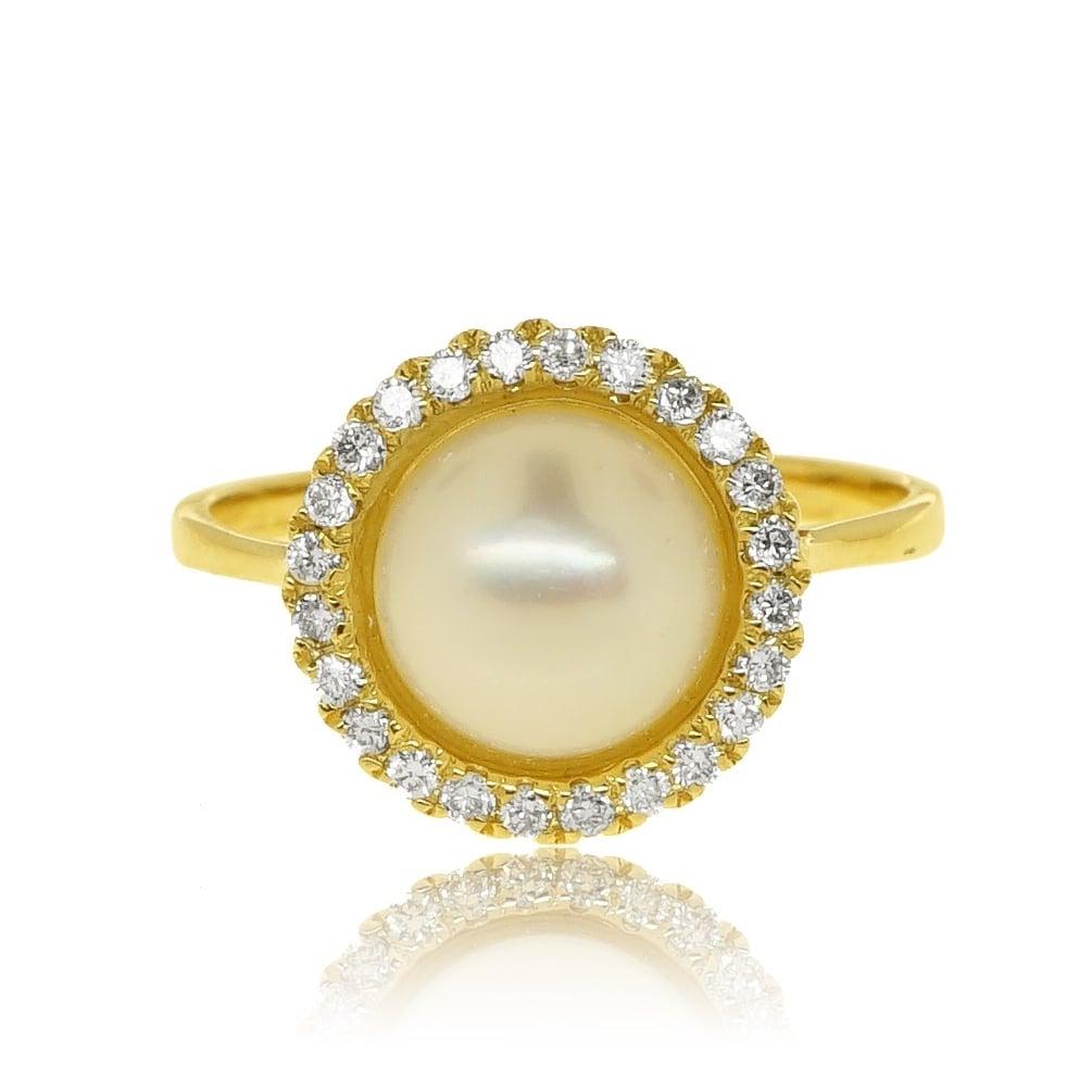 טבעת זהב 14 קראט מעוצבת משובצת פנינה ויהלומים 0.25 קראט