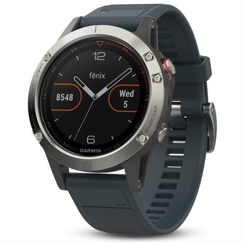 Garmin Fenix 5 Silver with granite blue band שעון דופק