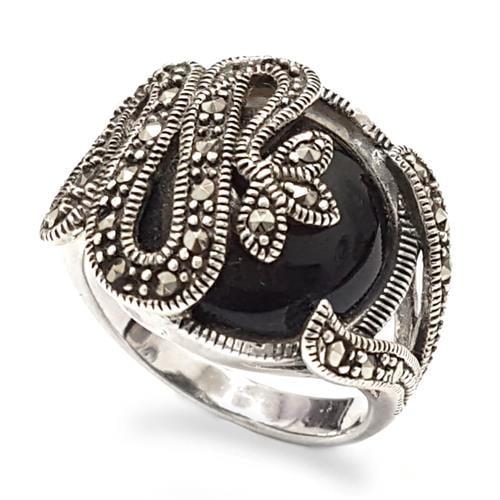 טבעת כסף משובצת אבן אוניקס שחורה ומרקזטים RG5902 | תכשיטי כסף 925 | טבעות כסף
