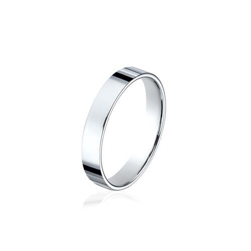 טבעת נישואין חלקה לגבר זהב לבן 4.0 ממ- M8575