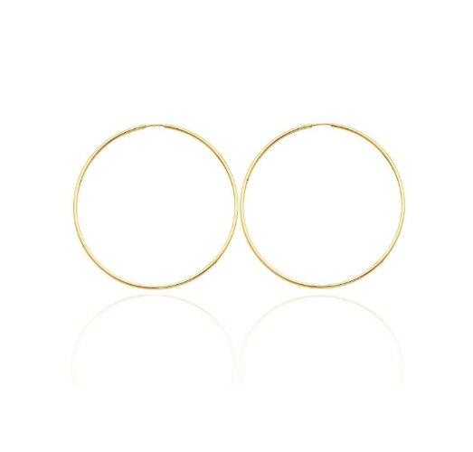 עגילי חישוק גדולים 5 סמ זהב צהוב │ עגילי חישוק גדולים גמישים במיוחד