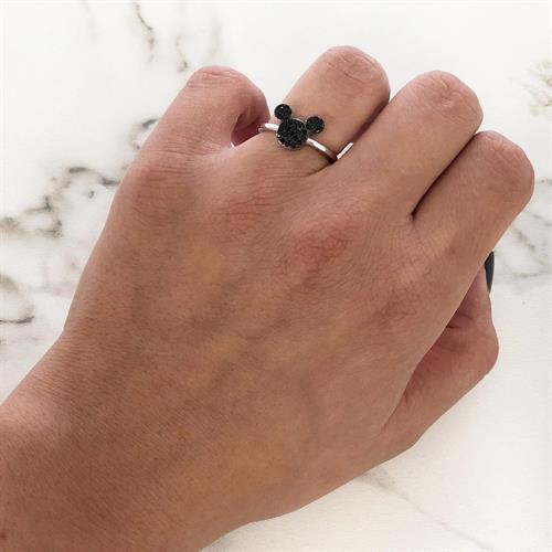 טבעת מיקי מאוס משובצת זרקונים שחורים כסף 925