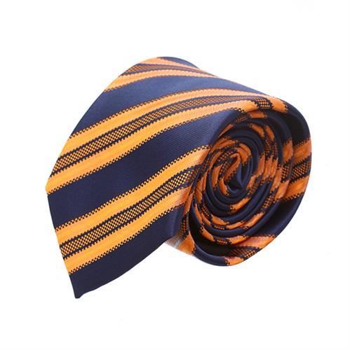 עניבה פסים כחול חרדל