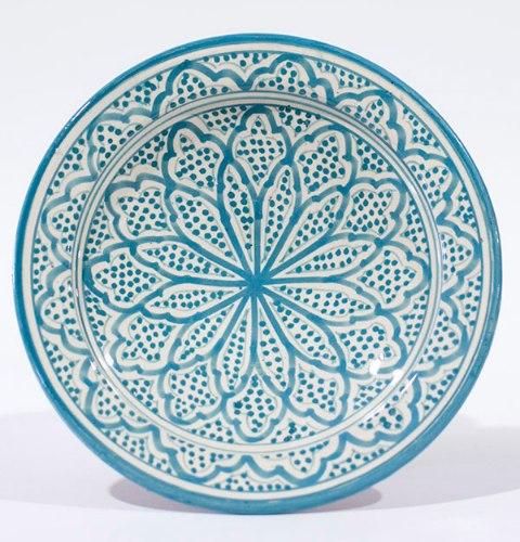 צלחת טורקיז לבן פרחים L