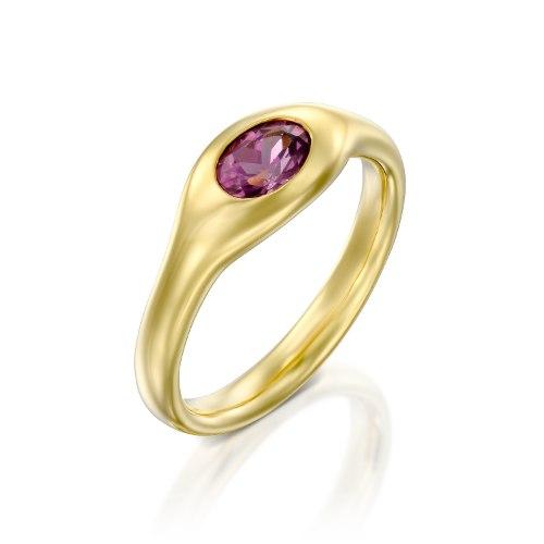 טבעת זהב 18 קרט משובצת בגרנט רודולייט איכותי. נועה טריפ noa tripp
